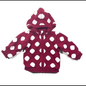 Baby Gap Polka Dot Zip Up Hoodie Jacket 12-18M